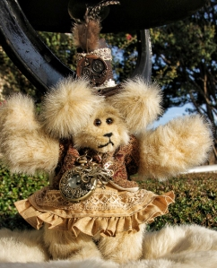 Steampunk Bear with new dress and suede vest---SOLD