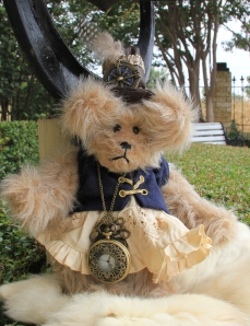 Steampunk Bear with blue vest, Sold!