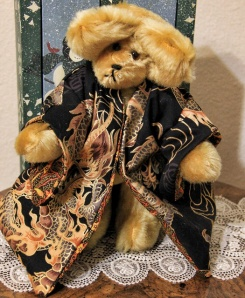 Black Dragon Golden Mohair Bear
