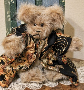 Black Dragon, Light Brown Plush Bear--sold