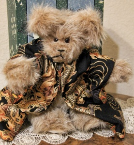 Black Dragon, Light Brown Plush Bear--sold