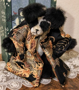 Black Dragon Mohair Panda Bear