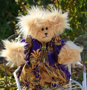 Purple Dragon Bear, golden plush fur, antique like pendant