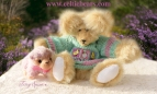 Butterscotch Bear with Happy Easter Sweater and lilac lamb 1000 110